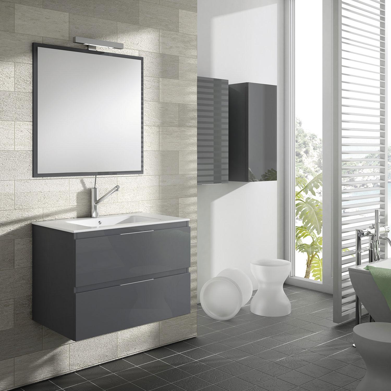 Mueble de baño suspendido MODELO MÓDENA grafito brillo