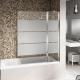 Mampara bañera fijo con soporte + abatible decorada