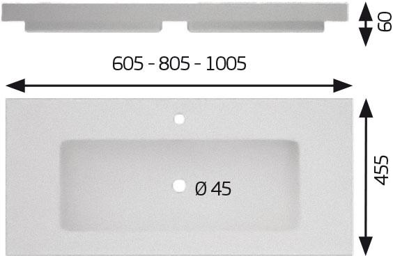Croquis lavabo MODELO MIX resina