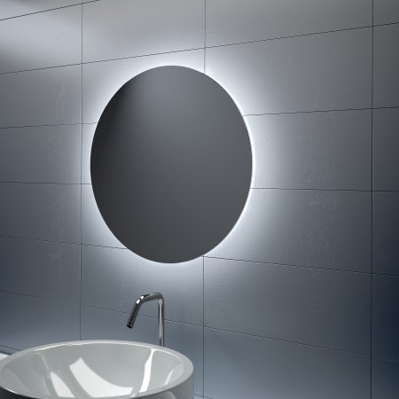 Espejo redondo de LED básico perimetral