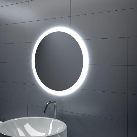 Espejo redondo LED geométrico
